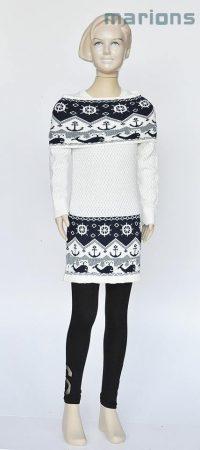 Marions lány gyerek és kamasz kötött tunikás ruha+ kötött/garbó-sál/