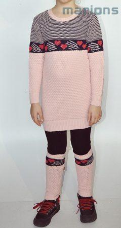 Marions lány gyerek és kamasz kötött tunikás ruha+lábszárvédő / 2 SZÍN/
