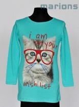 You World   /Lány  gyerek és kamasz póló / 2 szín /  Cica szemüveges/