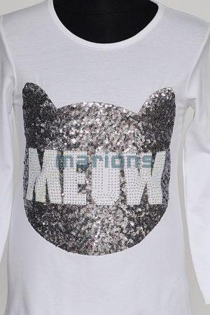 You World  / Lány póló 3 színben / Meow flitteres köves /