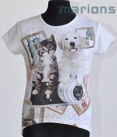 You World  / gyerek  és kamasz póló/  kutya és cica / 5 szín/
