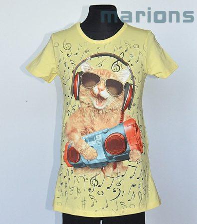 You World  Lány póló /  4 SZÍN / CICA fejhallgatós szemüveges/