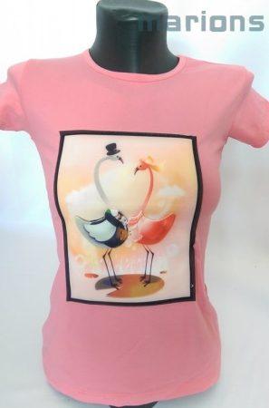 3d flamingós póló