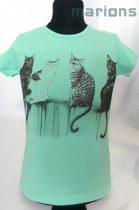 Lány cicás, strasszos póló